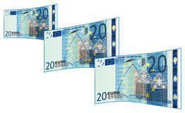 A lot of cash. Blue cash of 20 euro flying Royalty Free Stock Image