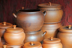 Lot of ceramics pots for sale. Stock Photography