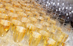 A lot of champagne flutes. On banquet table, limited focus depth stock photo