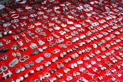 Lot of cheap souvenir earat asian market place. Laos Royalty Free Stock Images
