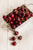 A lot of  cherries on wooden table,close-up Stock Photography