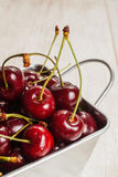 A lot of  cherries on wooden table,close-up Stock Image