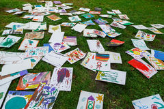 A lot of children`s drawings. Stock Photo