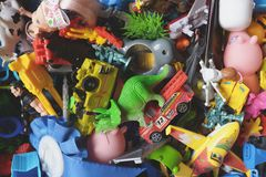 Lot of children's toys in a box Royalty Free Stock Photography