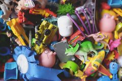 Lot of children's toys in a box Royalty Free Stock Photo