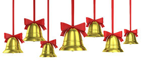 A lot of Christmas bells with red ribbons Stock Images