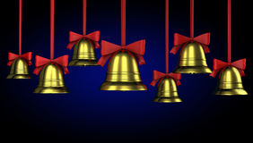 A lot of Christmas bells with red ribbons Royalty Free Stock Photos