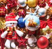 A lot of Christmas decorations. Christmas decorations stacked in cell for dressing the Christmas tree Stock Photos