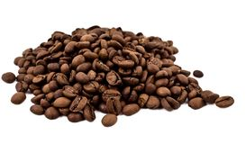 A lot of coffee beans. Isolated over white background Royalty Free Stock Images