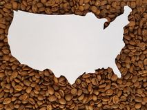 United States map in white with roasted coffee beans background. Lot of coffee beans toasted, ingredient for drinks with caffeine, agricultural industry of Stock Images