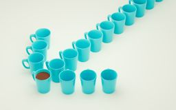 A lot of coffee mugs standing in a row. 3d rendering. Illustration Royalty Free Stock Photo