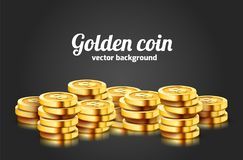 A lot of coins on black background. Jackpot or success concept. Modern background. Vector illustration stock illustration