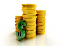 Lot of coins with dollar sign Stock Photo