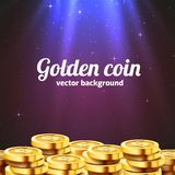 A lot of coins with light beam. Jackpot or success concept. Modern background. Vector illustration vector illustration
