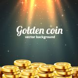 A lot of coins with light beam. Jackpot or success concept. Modern background. Vector illustration stock illustration