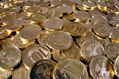 Lot of coins. Many metal money - Russian rubles - is bulk Royalty Free Stock Photography