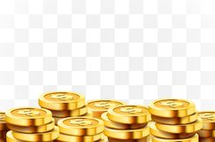 A lot of coins on transparent background. Jackpot or success concept. Modern background. Vector illustration royalty free illustration