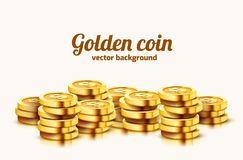A lot of coins on white background. Jackpot or success concept. Modern background. Vector illustration vector illustration