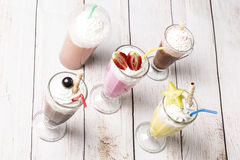 Lot of cold frappes on the wooden background Stock Photo