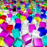 A lot of color glass cubes Royalty Free Stock Photography