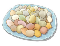 Lot of Color Sweets on Plate Stock Image