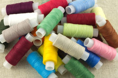 Colored spools with  thread close up Royalty Free Stock Image