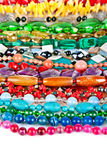 Lot of colored beads from different minerals and stone Stock Images