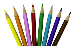 Lot of colored pencils. One 3d render of a composition of colored pencils stock illustration