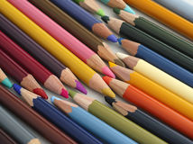 Lot of colored pencils Stock Photography