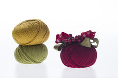 Lot of colored yarns on bright background Royalty Free Stock Images