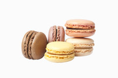 Lot of coloreful  french macaroons, isolated. On white background, close-up Royalty Free Stock Image