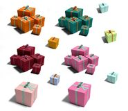 Lot of colorful birthday gifts. Lot of colorful boxes  on white background. Gifts Stock Photos