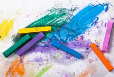 A lot of colorful chalk Stock Image