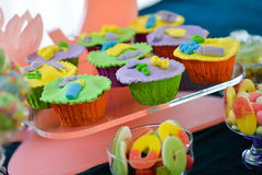 A lot of colorful cupcakes Royalty Free Stock Image