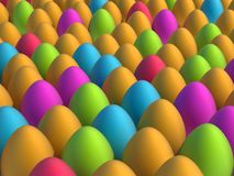 Lot of colorful easter eggs. Illustration of blue, green, red, magenta and orange eggs Stock Photography