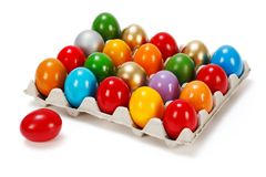 Colorful Easter eggs in storage box Royalty Free Stock Images