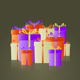 Lot of colorful gifts with ribbons reflection Royalty Free Stock Photos