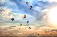A lot of colorful hot-air balloons Stock Images
