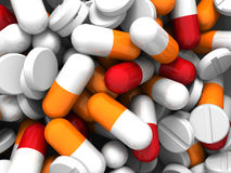 A lot of colorful medication and pills. Concept background Royalty Free Stock Photos