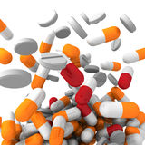 A lot of colorful medication and pills. Concept background Stock Images