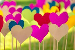 A lot of colorful paper hearts on a wooden sticks stock images