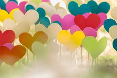 A lot of colorful paper hearts on a wooden sticks stock image