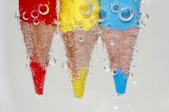 Colorful pencil under water. Lot colorful pencil under water Stock Image