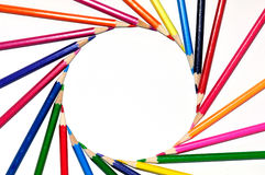 color pencils in spin shape of sun Royalty Free Stock Photography