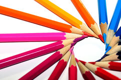 colorful pencils in spin shape of sun Stock Photos