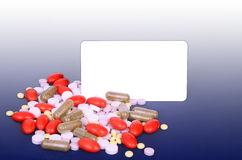 A lot of colorful pills, space for text Royalty Free Stock Image