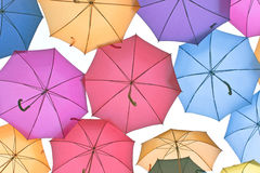 A lot of colorful umbrellas Royalty Free Stock Images