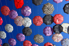 A lot of colorful umbrellas. In the sky Royalty Free Stock Images