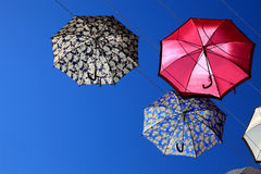 A lot of colorful umbrellas. In the sky Royalty Free Stock Photography