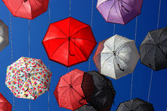 A lot of colorful umbrellas. In the sky Stock Image